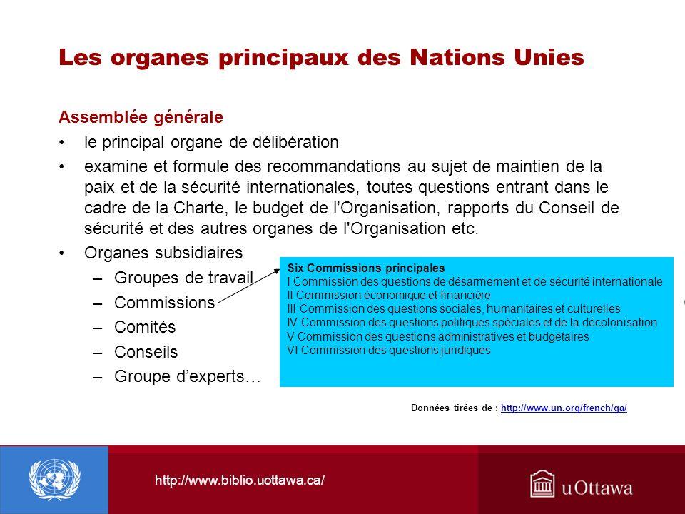 Les organes principaux des Nations Unies Assemblée générale le principal organe de délibération examine et formule des recommandations au sujet de mai