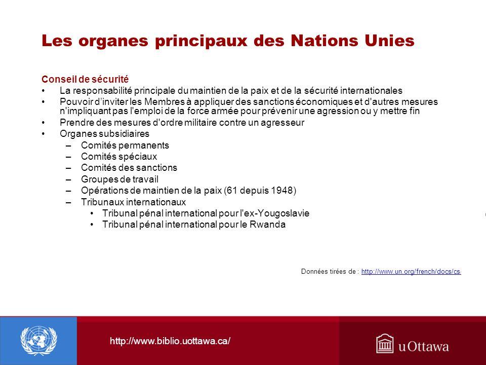 http://www.biblio.uottawa.ca/ Les organes principaux des Nations Unies Conseil de sécurité La responsabilité principale du maintien de la paix et de l