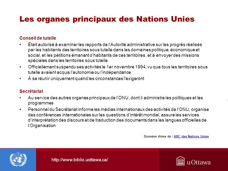 http://www.biblio.uottawa.ca/ Les organes principaux des Nations Unies Conseil de tutelle Était autorisé à examiner les rapports de lAutorité administ