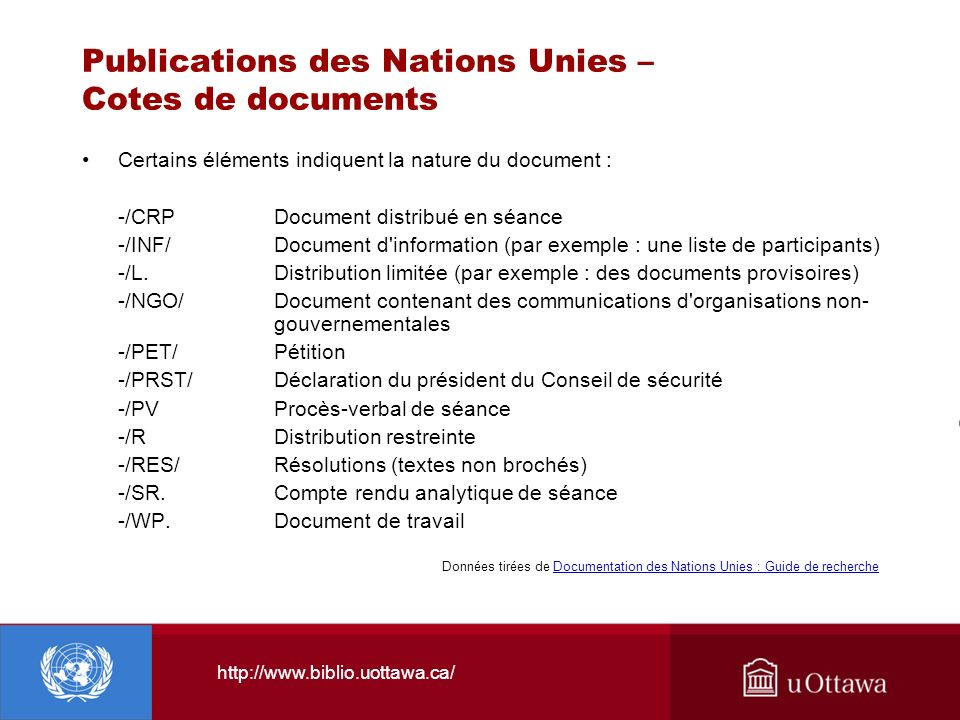 http://www.biblio.uottawa.ca/ Publications des Nations Unies – Cotes de documents Certains éléments indiquent la nature du document : -/CRPDocument di