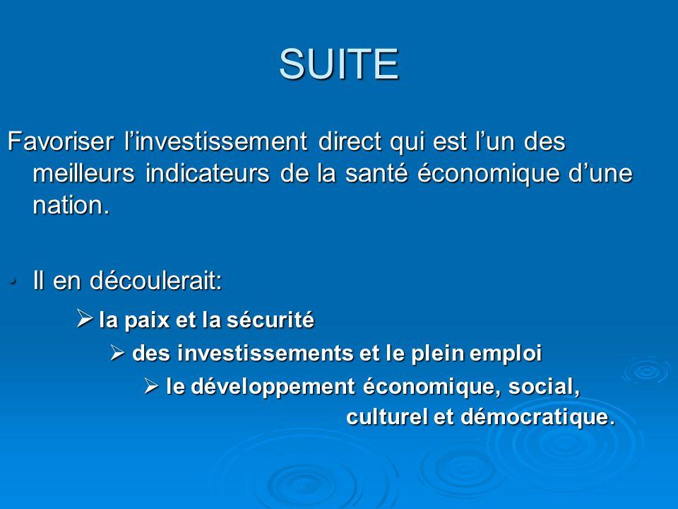 SUITE Favoriser linvestissement direct qui est lun des meilleurs indicateurs de la santé économique dune nation.