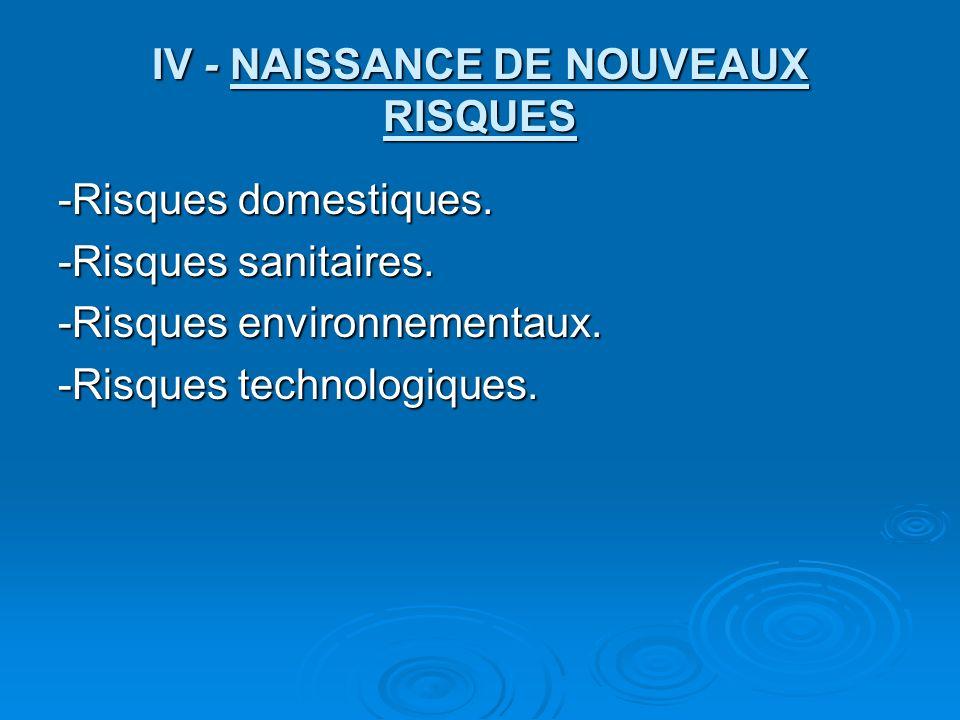 IV - NAISSANCE DE NOUVEAUX RISQUES -Risques domestiques.
