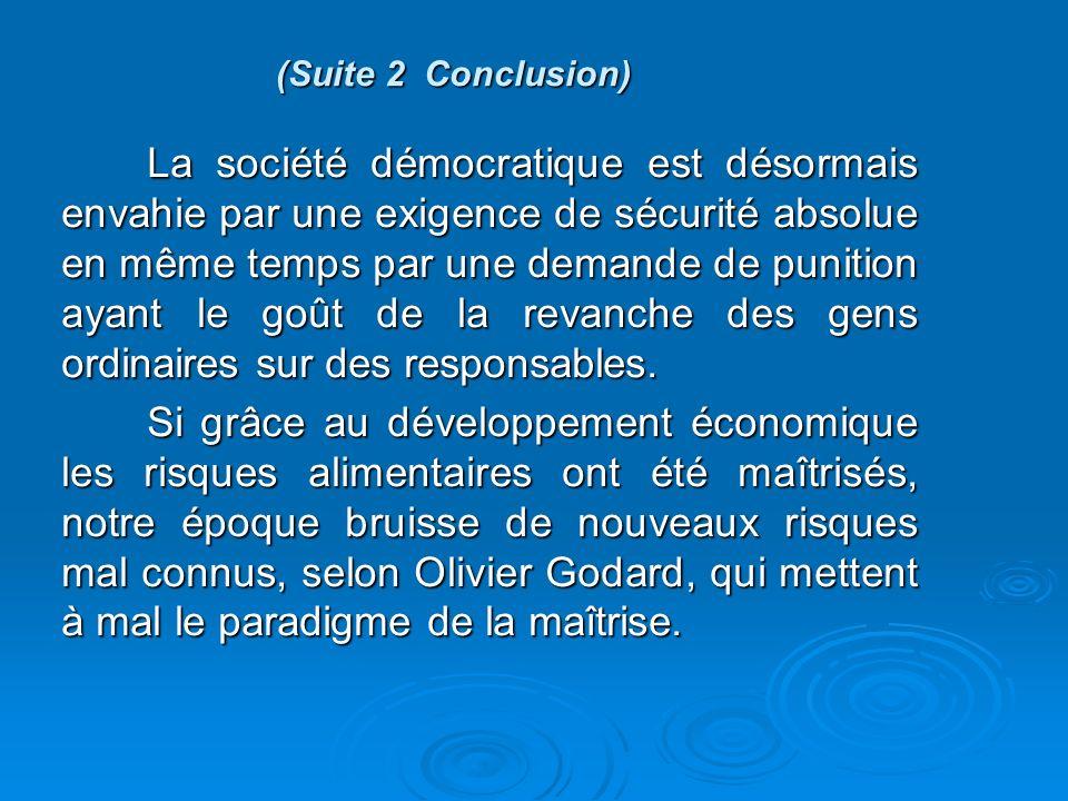 (Suite 2 Conclusion) La société démocratique est désormais envahie par une exigence de sécurité absolue en même temps par une demande de punition ayant le goût de la revanche des gens ordinaires sur des responsables.