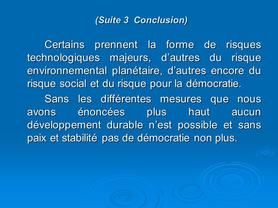(Suite 3 Conclusion) Certains prennent la forme de risques technologiques majeurs, dautres du risque environnemental planétaire, dautres encore du risque social et du risque pour la démocratie.