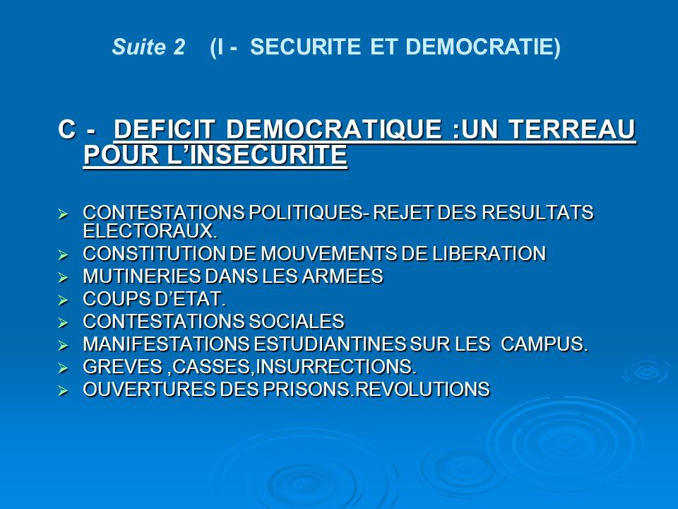 C - DEFICIT DEMOCRATIQUE :UN TERREAU POUR LINSECURITE CONTESTATIONS POLITIQUES- REJET DES RESULTATS ELECTORAUX.