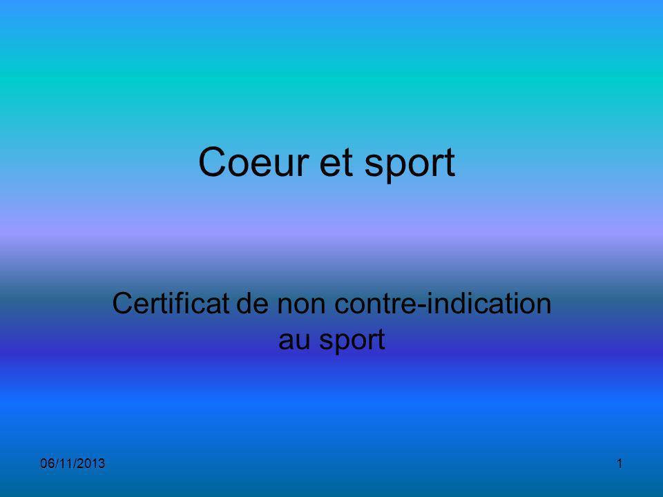 06/11/20131 Coeur et sport Certificat de non contre-indication au sport