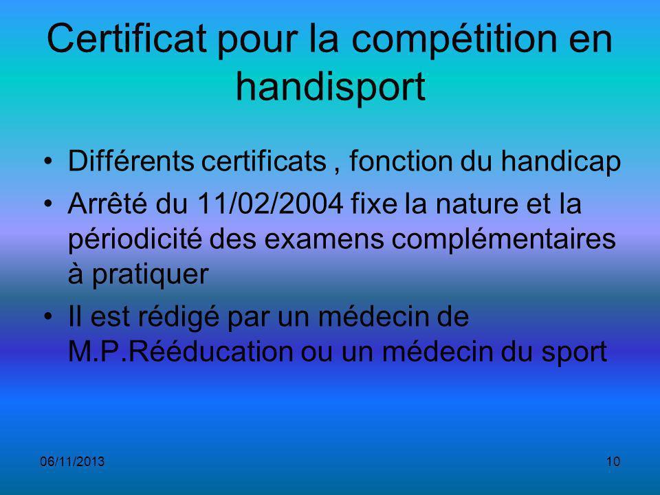 Certificat pour la compétition en handisport Différents certificats, fonction du handicap Arrêté du 11/02/2004 fixe la nature et la périodicité des examens complémentaires à pratiquer Il est rédigé par un médecin de M.P.Rééducation ou un médecin du sport 06/11/201310