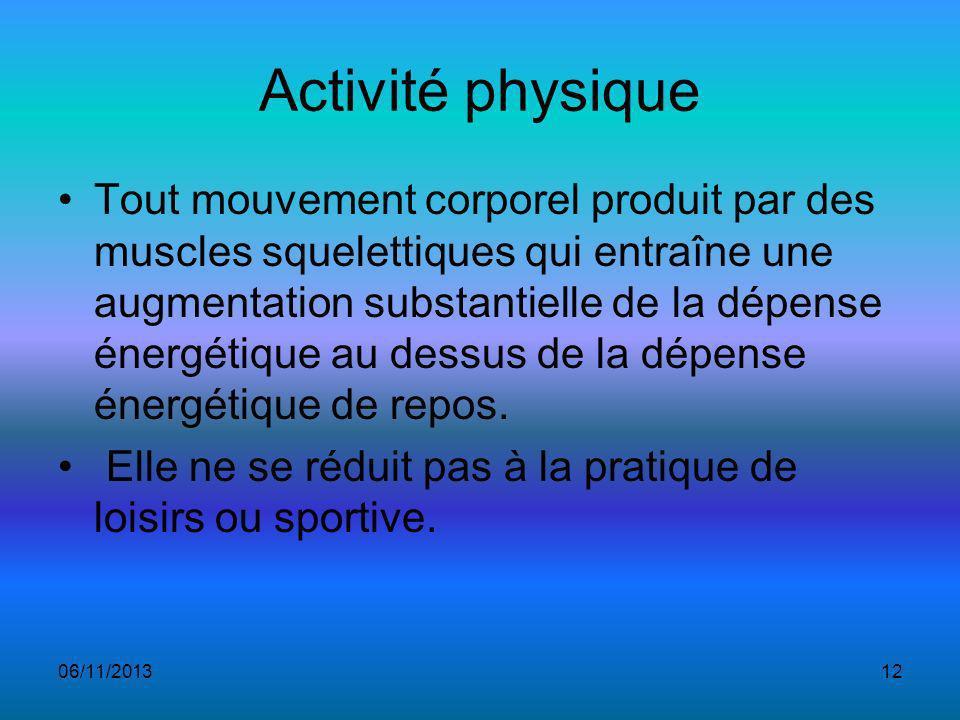 Activité physique Tout mouvement corporel produit par des muscles squelettiques qui entraîne une augmentation substantielle de la dépense énergétique au dessus de la dépense énergétique de repos.
