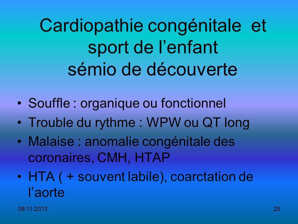 Cardiopathie congénitale et sport de lenfant sémio de découverte Souffle : organique ou fonctionnel Trouble du rythme : WPW ou QT long Malaise : anomalie congénitale des coronaires, CMH, HTAP HTA ( + souvent labile), coarctation de laorte 06/11/201328