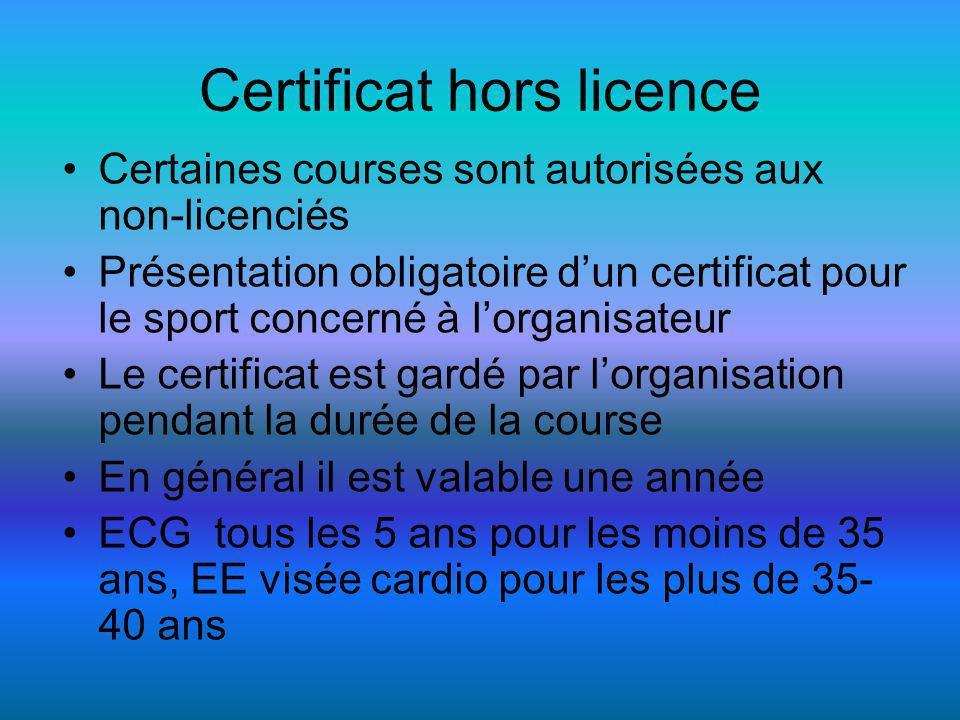 Certificat hors licence Certaines courses sont autorisées aux non-licenciés Présentation obligatoire dun certificat pour le sport concerné à lorganisateur Le certificat est gardé par lorganisation pendant la durée de la course En général il est valable une année ECG tous les 5 ans pour les moins de 35 ans, EE visée cardio pour les plus de 35- 40 ans