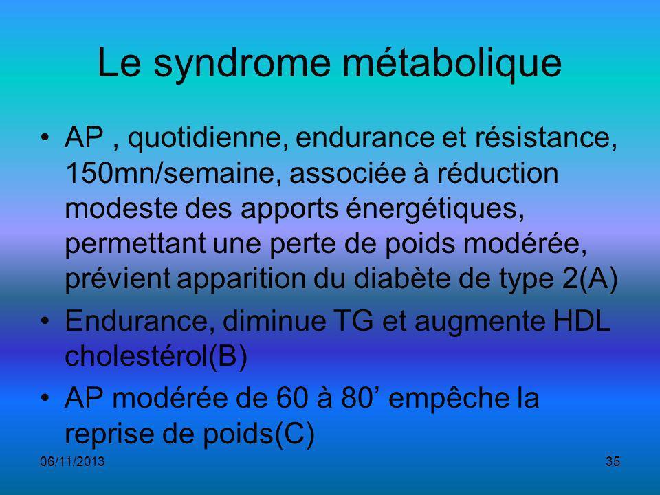 Le syndrome métabolique AP, quotidienne, endurance et résistance, 150mn/semaine, associée à réduction modeste des apports énergétiques, permettant une perte de poids modérée, prévient apparition du diabète de type 2(A) Endurance, diminue TG et augmente HDL cholestérol(B) AP modérée de 60 à 80 empêche la reprise de poids(C) 06/11/201335