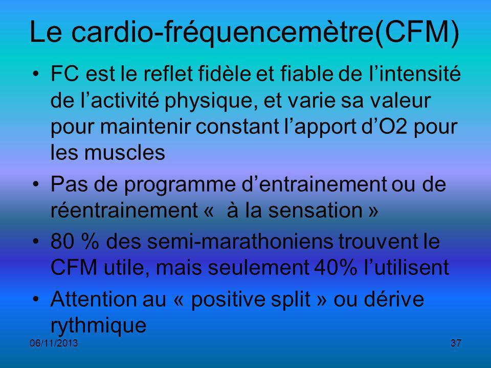 Le cardio-fréquencemètre(CFM) FC est le reflet fidèle et fiable de lintensité de lactivité physique, et varie sa valeur pour maintenir constant lapport dO2 pour les muscles Pas de programme dentrainement ou de réentrainement « à la sensation » 80 % des semi-marathoniens trouvent le CFM utile, mais seulement 40% lutilisent Attention au « positive split » ou dérive rythmique 06/11/201337