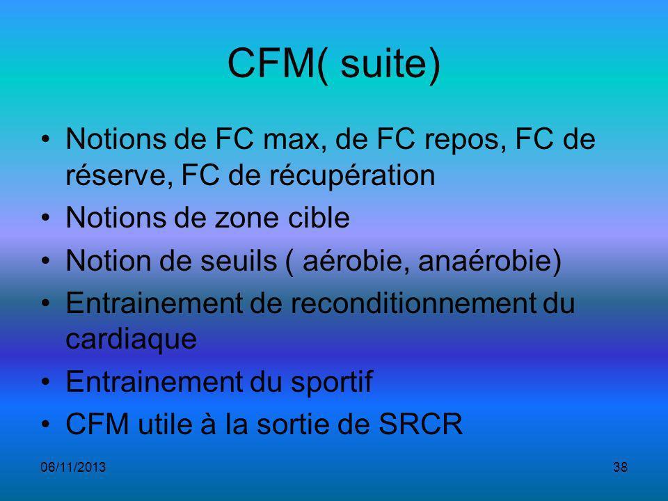 CFM( suite) Notions de FC max, de FC repos, FC de réserve, FC de récupération Notions de zone cible Notion de seuils ( aérobie, anaérobie) Entrainement de reconditionnement du cardiaque Entrainement du sportif CFM utile à la sortie de SRCR 06/11/201338
