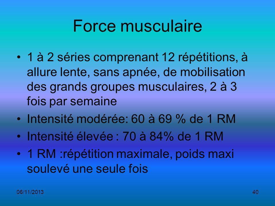 Force musculaire 1 à 2 séries comprenant 12 répétitions, à allure lente, sans apnée, de mobilisation des grands groupes musculaires, 2 à 3 fois par semaine Intensité modérée: 60 à 69 % de 1 RM Intensité élevée : 70 à 84% de 1 RM 1 RM :répétition maximale, poids maxi soulevé une seule fois 06/11/201340
