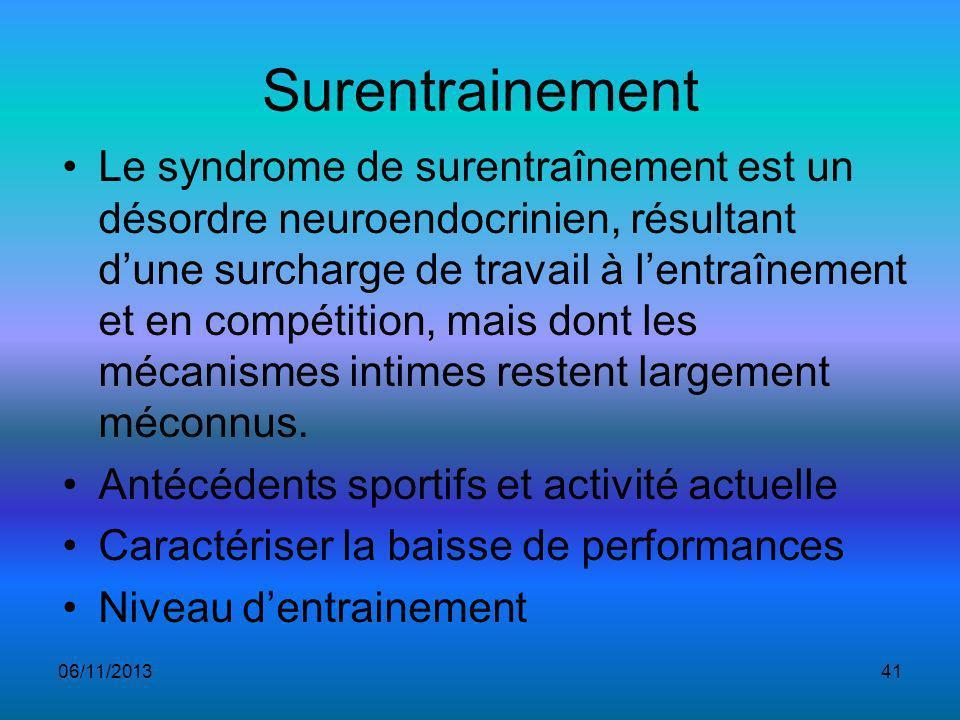 Surentrainement Le syndrome de surentraînement est un désordre neuroendocrinien, résultant dune surcharge de travail à lentraînement et en compétition, mais dont les mécanismes intimes restent largement méconnus.
