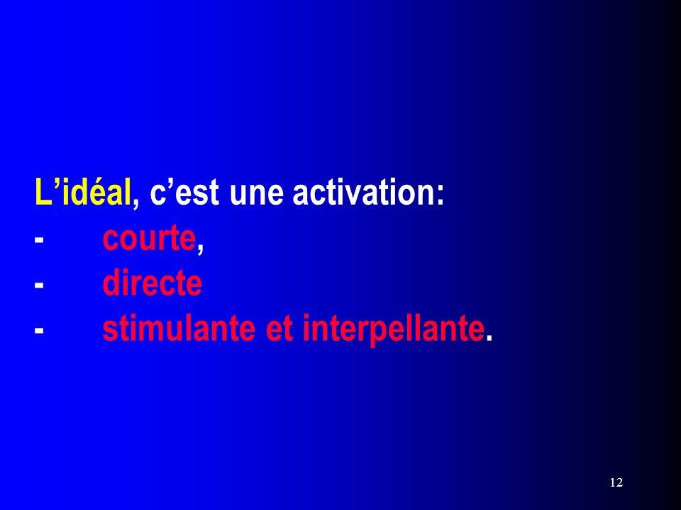 12 Lidéal, cest une activation: -courte, -directe -stimulante et interpellante.