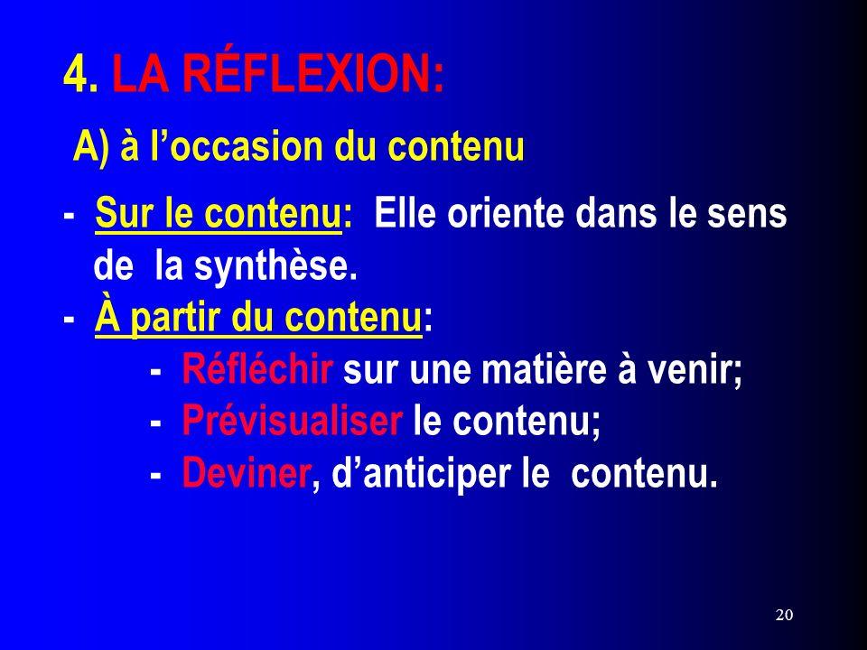 20 4. LA RÉFLEXION: A) à loccasion du contenu - Sur le contenu: Elle oriente dans le sens de la synthèse. - À partir du contenu: - Réfléchir sur une m