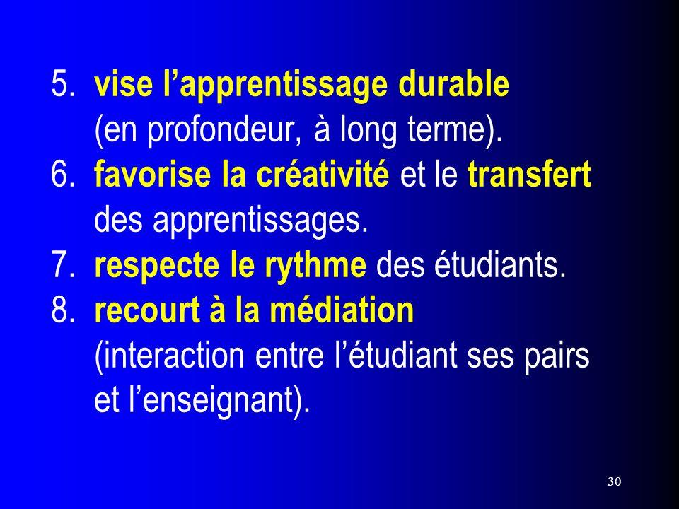 30 5. vise lapprentissage durable (en profondeur, à long terme). 6. favorise la créativité et le transfert des apprentissages. 7. respecte le rythme d