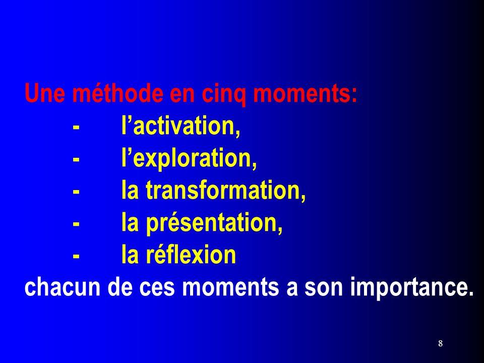 8 Une méthode en cinq moments: -lactivation, -lexploration, -la transformation, -la présentation, -la réflexion chacun de ces moments a son importance