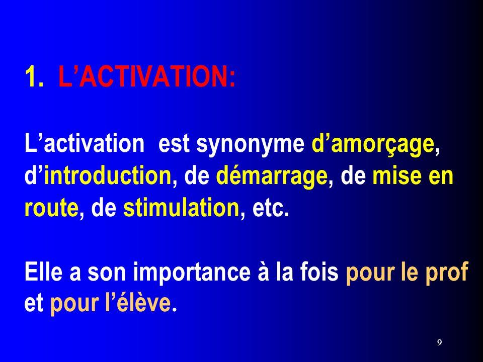 9 1. LACTIVATION: Lactivation est synonyme damorçage, dintroduction, de démarrage, de mise en route, de stimulation, etc. Elle a son importance à la f
