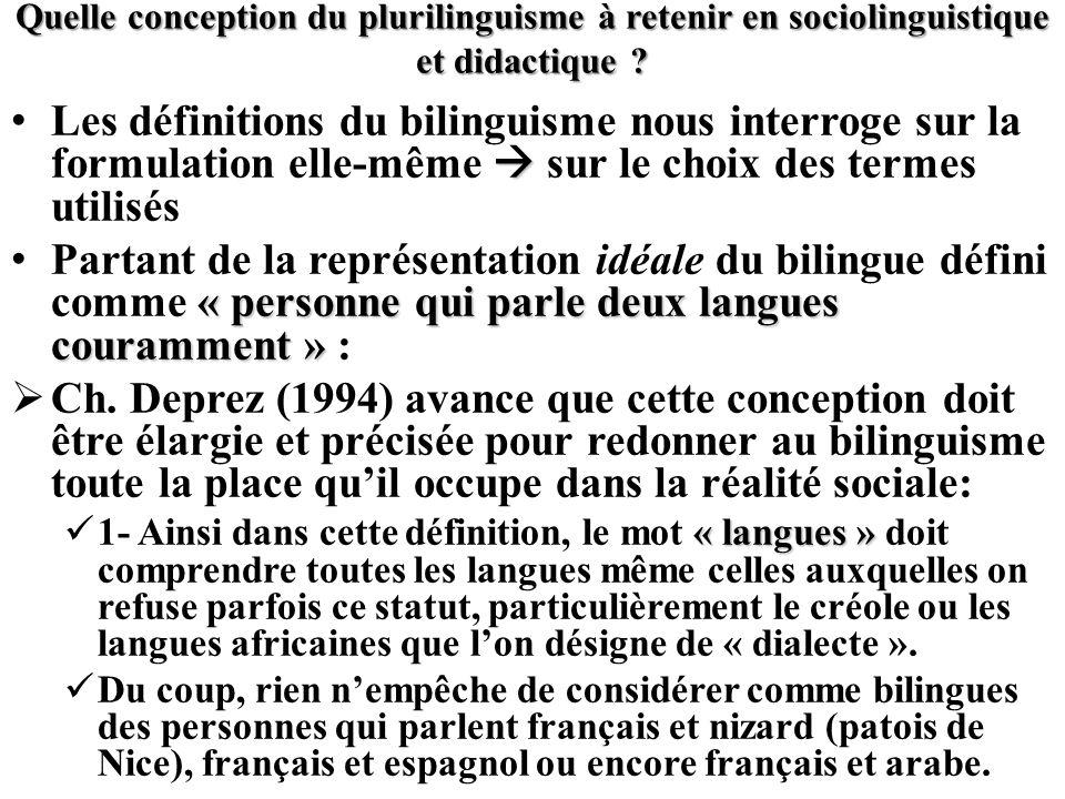 Quelle conception du plurilinguisme à retenir en sociolinguistique et didactique ? Les définitions du bilinguisme nous interroge sur la formulation el