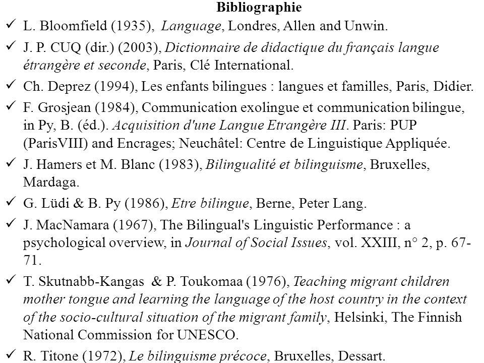 Bibliographie L. Bloomfield (1935), Language, Londres, Allen and Unwin. J. P. CUQ (dir.) (2003), Dictionnaire de didactique du français langue étrangè