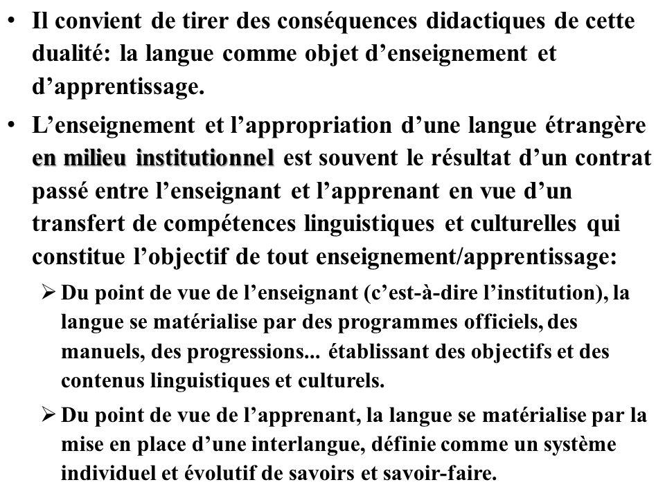 Il convient de tirer des conséquences didactiques de cette dualité: la langue comme objet denseignement et dapprentissage. en milieu institutionnel Le