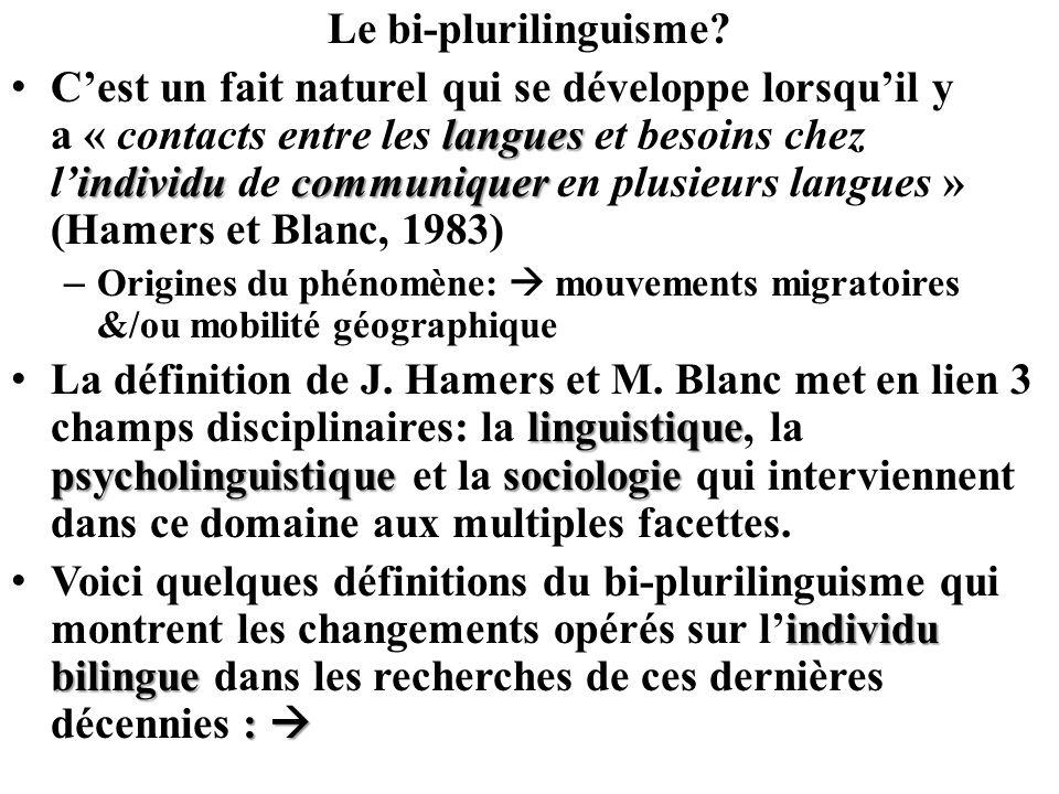 Le bi-plurilinguisme? langues individucommuniquer Cest un fait naturel qui se développe lorsquil y a « contacts entre les langues et besoins chez lind