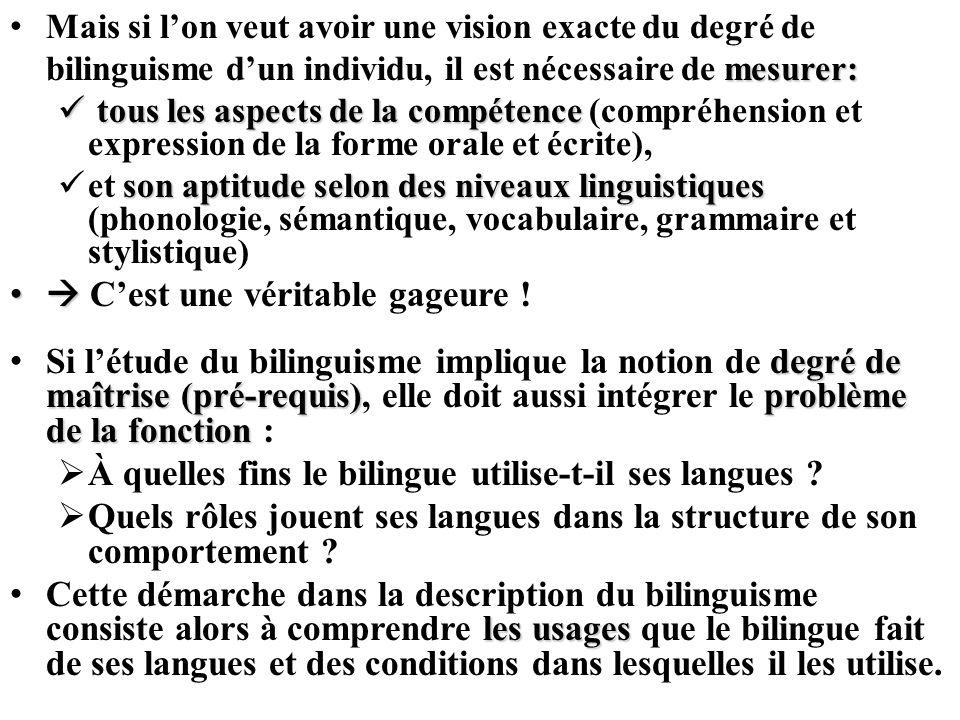 mesurer: Mais si lon veut avoir une vision exacte du degré de bilinguisme dun individu, il est nécessaire de mesurer: tous les aspects de la compétenc