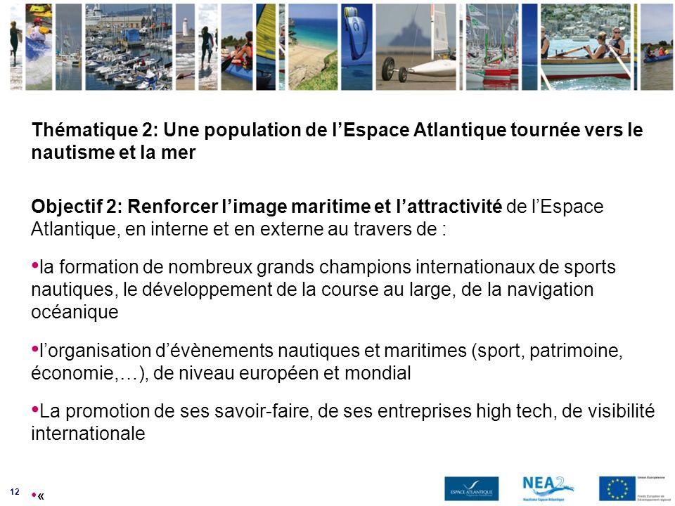 12 Thématique 2: Une population de lEspace Atlantique tournée vers le nautisme et la mer Objectif 2: Renforcer limage maritime et lattractivité de lEs