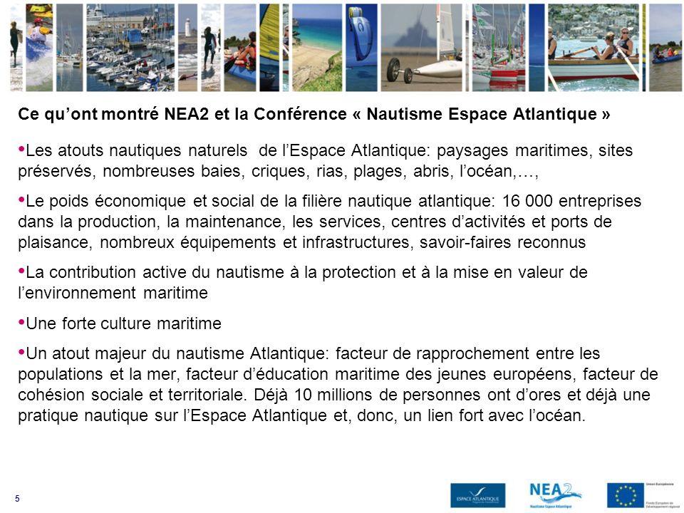 5 Ce quont montré NEA2 et la Conférence « Nautisme Espace Atlantique » Les atouts nautiques naturels de lEspace Atlantique: paysages maritimes, sites