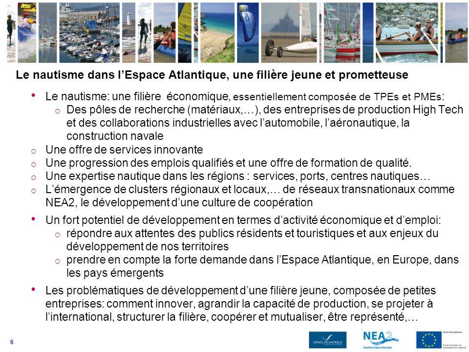 6 Le nautisme dans lEspace Atlantique, une filière jeune et prometteuse Le nautisme: une filière économique, essentiellement composée de TPEs et PMEs