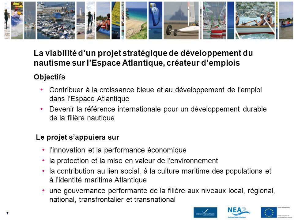 7 La viabilité dun projet stratégique de développement du nautisme sur lEspace Atlantique, créateur demplois Objectifs Contribuer à la croissance bleu