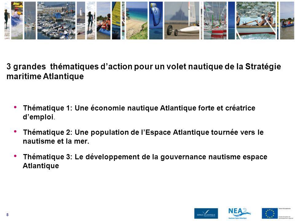 8 3 grandes thématiques daction pour un volet nautique de la Stratégie maritime Atlantique Thématique 1: Une économie nautique Atlantique forte et cré
