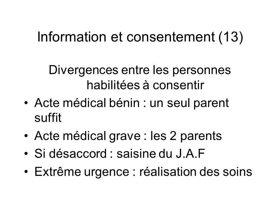 Information et consentement (13) Divergences entre les personnes habilitées à consentir Acte médical bénin : un seul parent suffit Acte médical grave