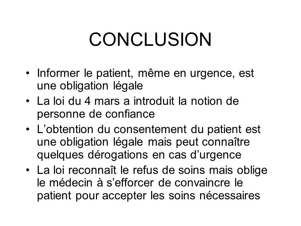 CONCLUSION Informer le patient, même en urgence, est une obligation légale La loi du 4 mars a introduit la notion de personne de confiance Lobtention