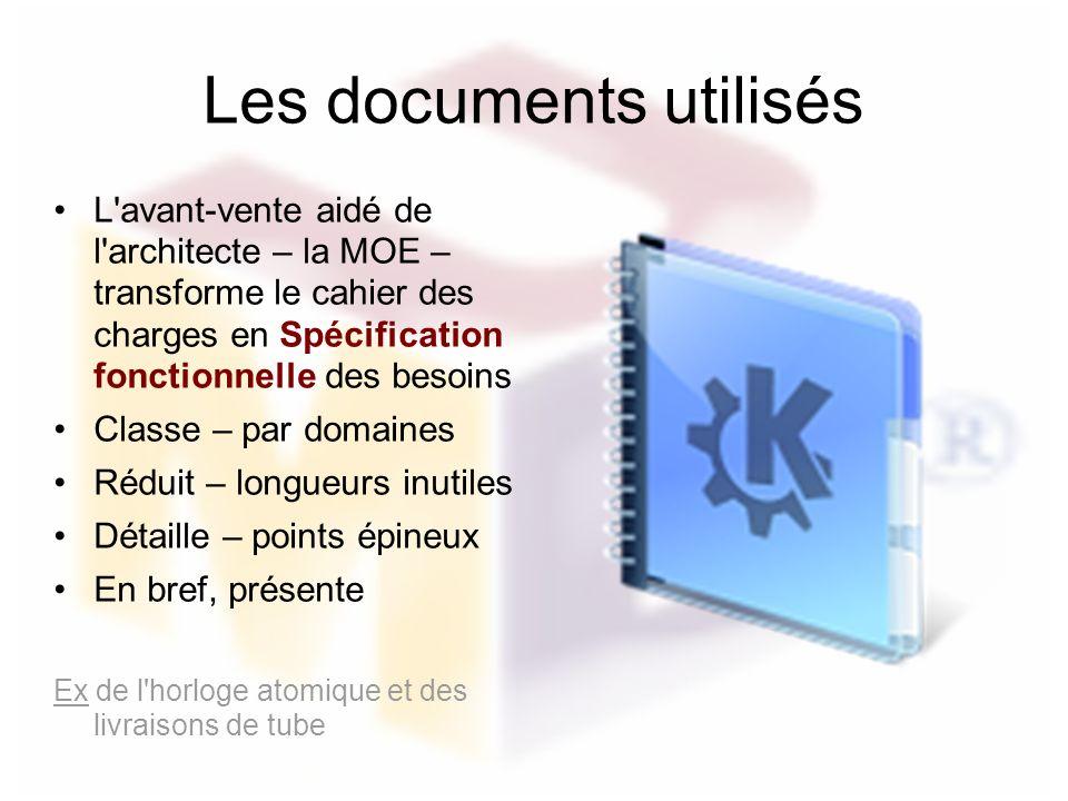 Les documents utilisés L'avant-vente aidé de l'architecte – la MOE – transforme le cahier des charges en Spécification fonctionnelle des besoins Class