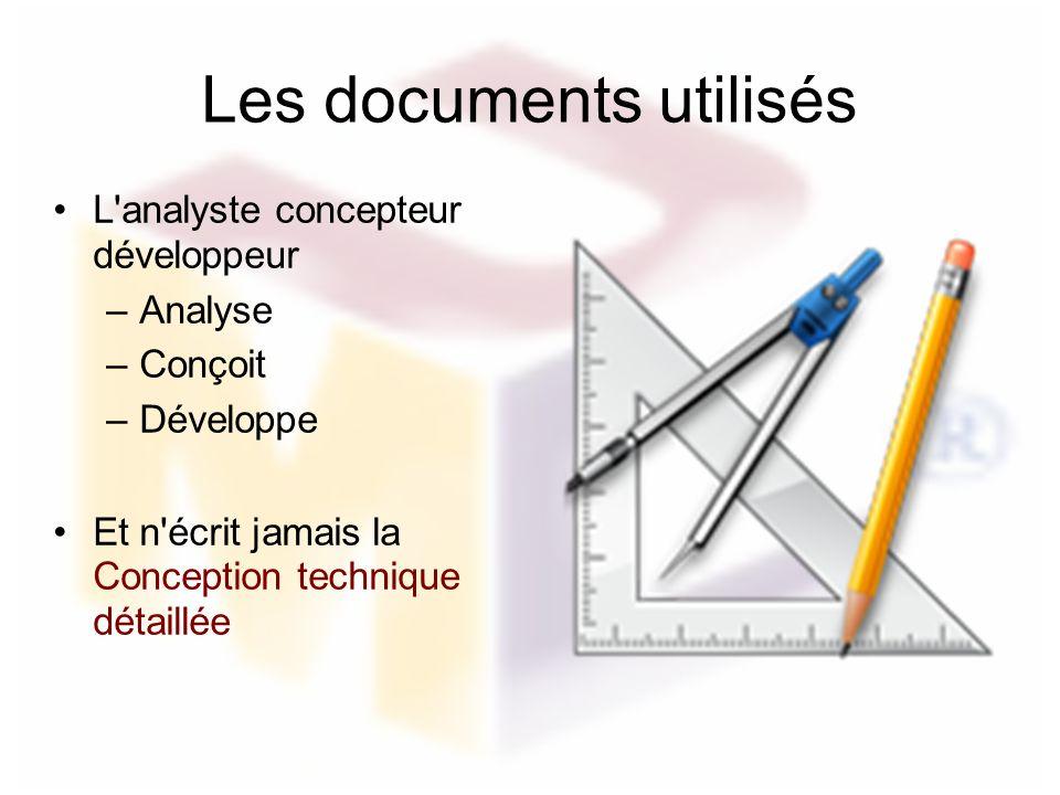 Les documents utilisés L'analyste concepteur développeur –Analyse –Conçoit –Développe Et n'écrit jamais la Conception technique détaillée