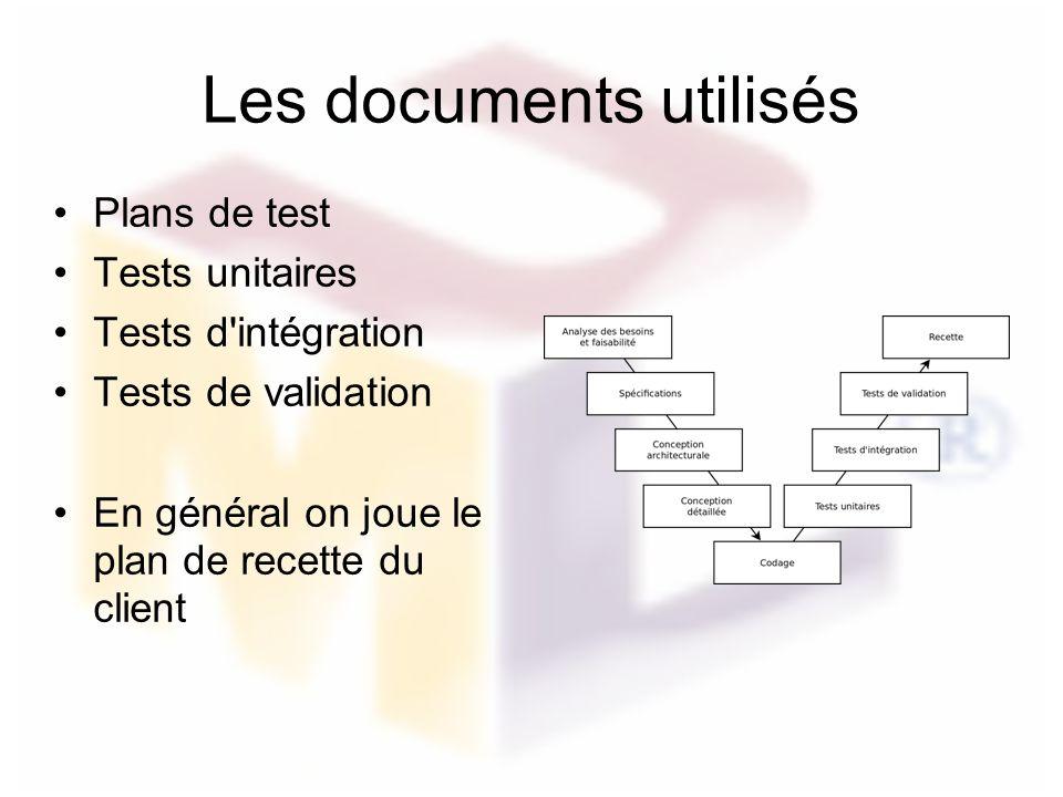 Les documents utilisés Plans de test Tests unitaires Tests d'intégration Tests de validation En général on joue le plan de recette du client