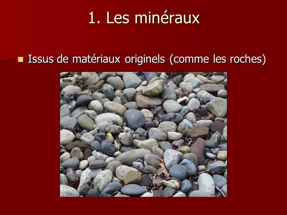 1. Les minéraux Issus de matériaux originels (comme les roches) Issus de matériaux originels (comme les roches)