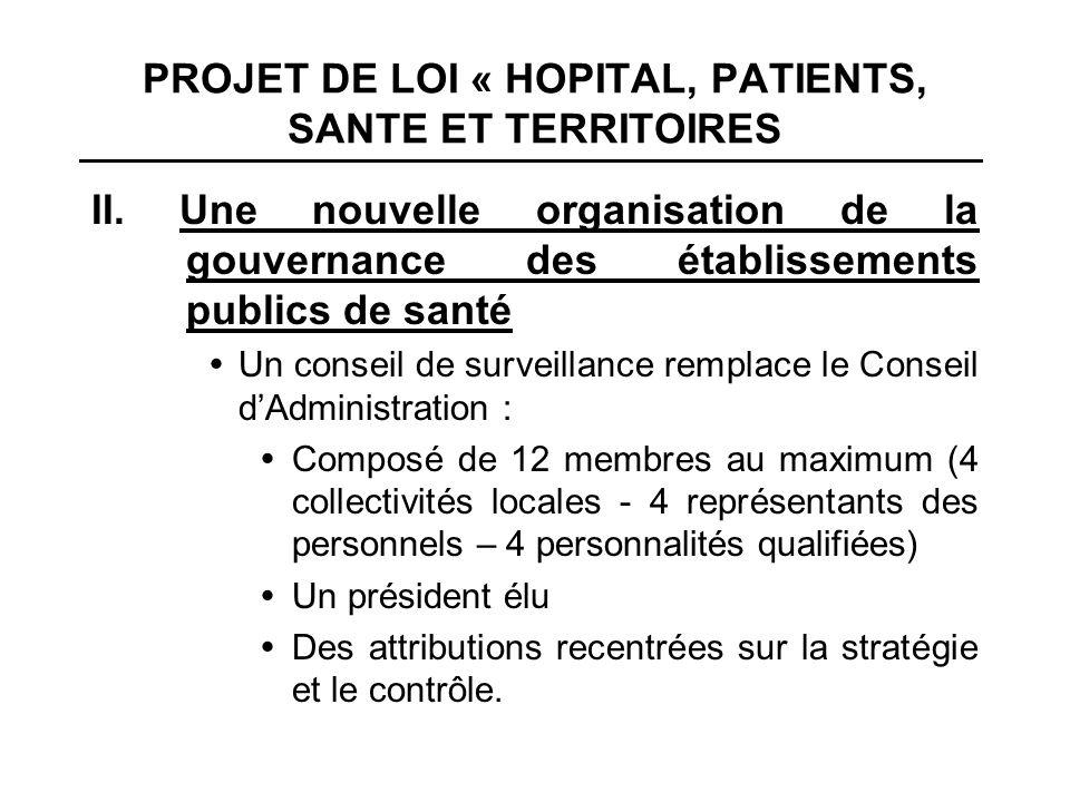 PROJET DE LOI « HOPITAL, PATIENTS, SANTE ET TERRITOIRES II. Une nouvelle organisation de la gouvernance des établissements publics de santé Un conseil