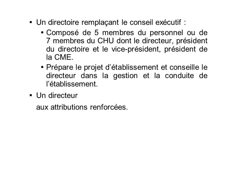 Un directoire remplaçant le conseil exécutif : Composé de 5 membres du personnel ou de 7 membres du CHU dont le directeur, président du directoire et le vice-président, président de la CME.