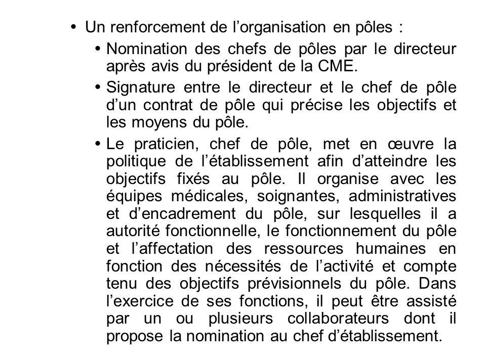 Un renforcement de lorganisation en pôles : Nomination des chefs de pôles par le directeur après avis du président de la CME. Signature entre le direc