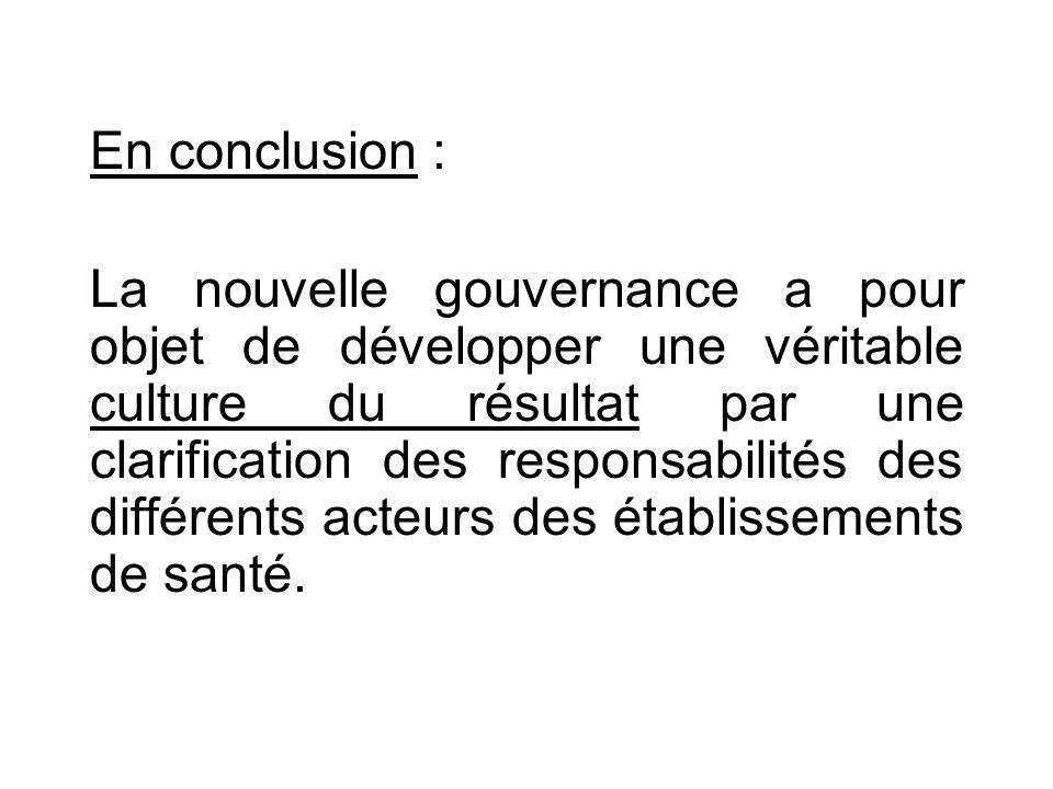 En conclusion : La nouvelle gouvernance a pour objet de développer une véritable culture du résultat par une clarification des responsabilités des différents acteurs des établissements de santé.