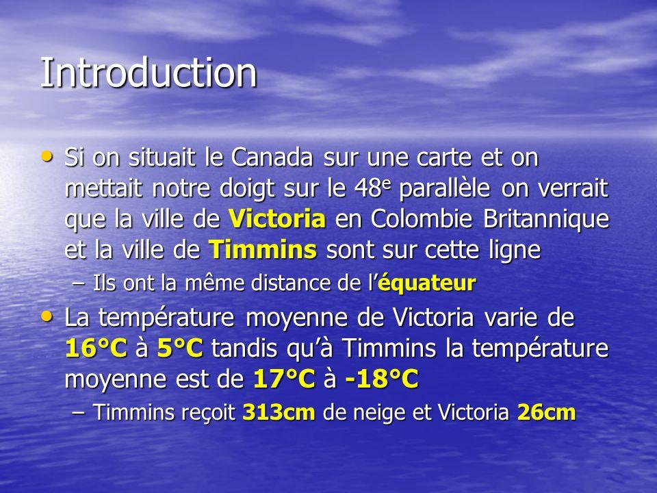 La raison première de cette différence est que Victoria est près dune grande étendue deau et que Timmins est très loin de locéan et des grands lacs La raison première de cette différence est que Victoria est près dune grande étendue deau et que Timmins est très loin de locéan et des grands lacs Pourquoi la proximité à leau est-ce important.
