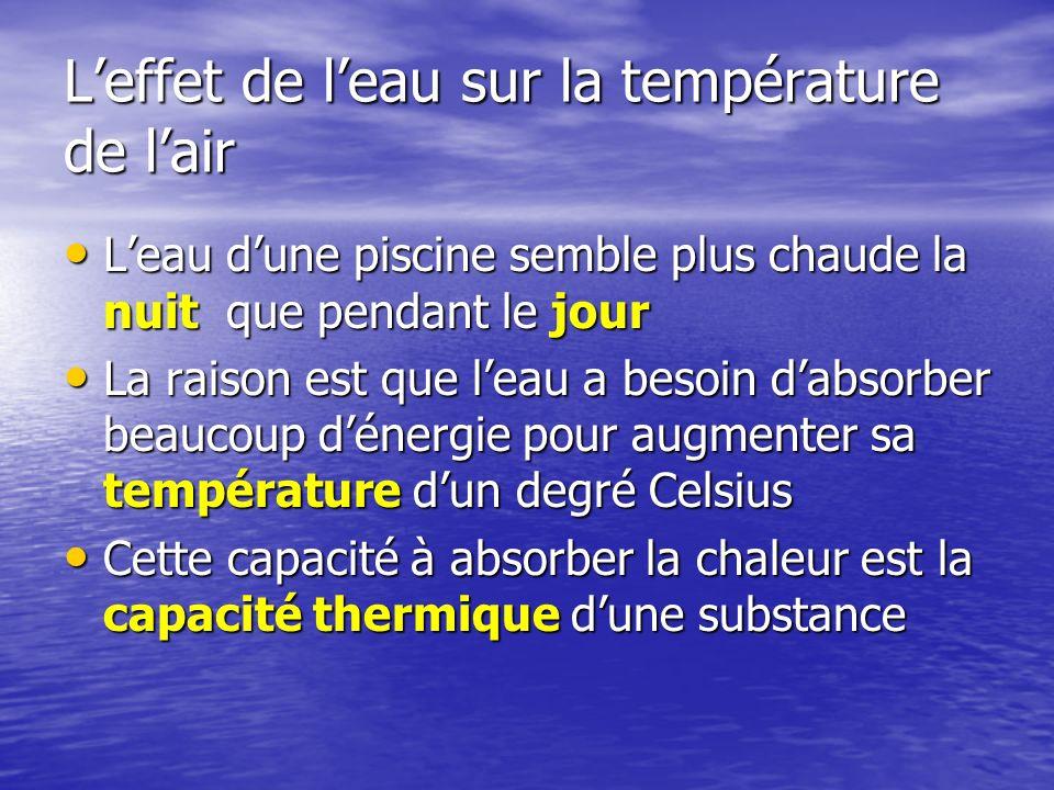 La capacité thermique dune substance permet de savoir comment rapidement la substance change de température quand elle est placée dans un milieu de température différente La capacité thermique dune substance permet de savoir comment rapidement la substance change de température quand elle est placée dans un milieu de température différente –Plus la capacité est haute plus cela prend du temps pour se réchauffé ou perdre sa chaleur