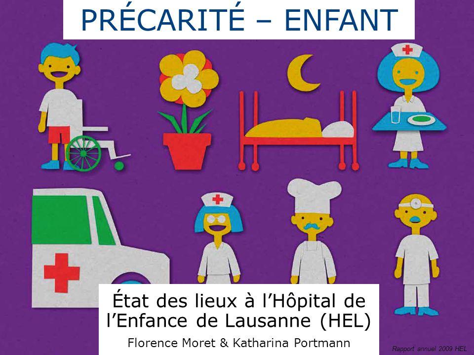 PRÉCARITÉ – ENFANT État des lieux à lHôpital de lEnfance de Lausanne (HEL) Florence Moret & Katharina Portmann Rapport annuel 2009 HEL