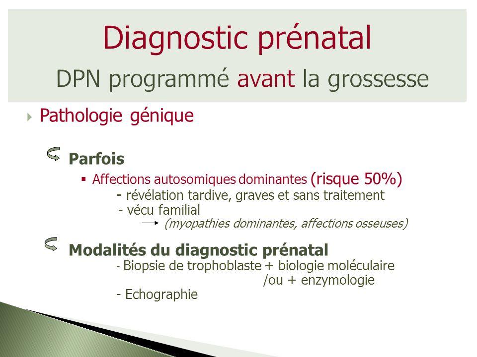 Pathologie génique Parfois Affections autosomiques dominantes (risque 50%) - révélation tardive, graves et sans traitement - vécu familial (myopathies