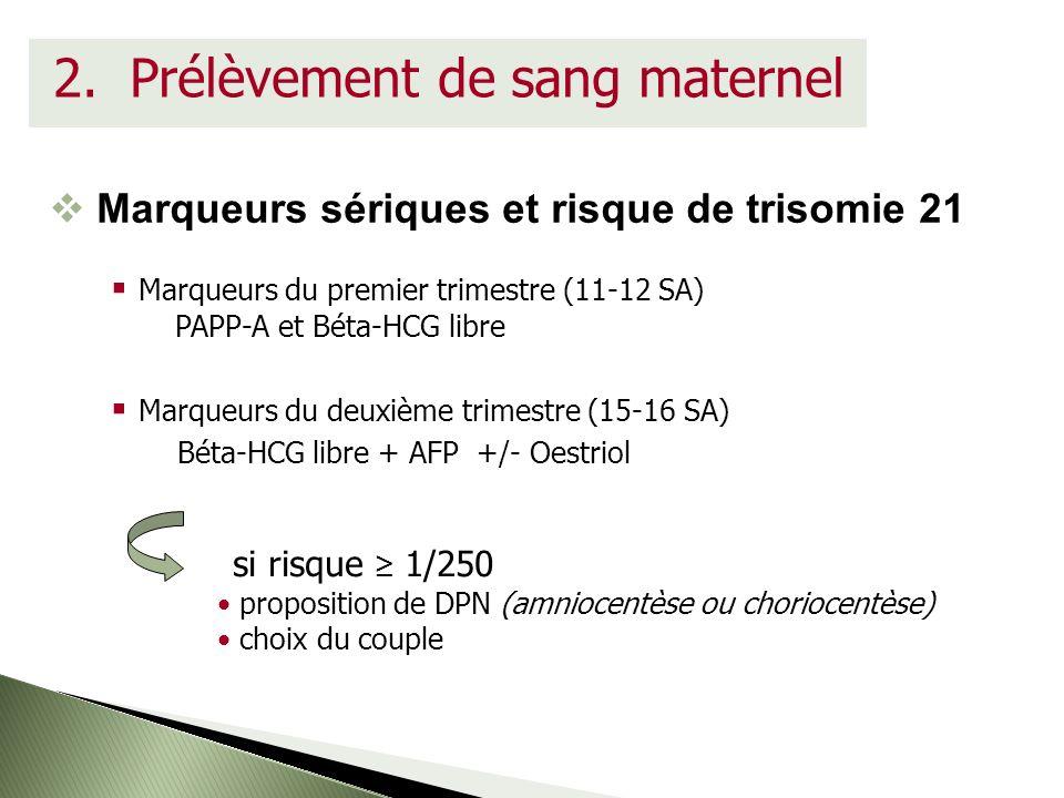 2. Prélèvement de sang maternel Marqueurs sériques et risque de trisomie 21 Marqueurs du premier trimestre (11-12 SA) PAPP-A et Béta-HCG libre Marqueu