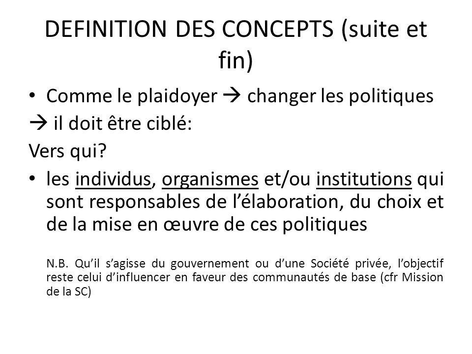 DEFINITION DES CONCEPTS (suite et fin) Comme le plaidoyer changer les politiques il doit être ciblé: Vers qui? les individus, organismes et/ou institu